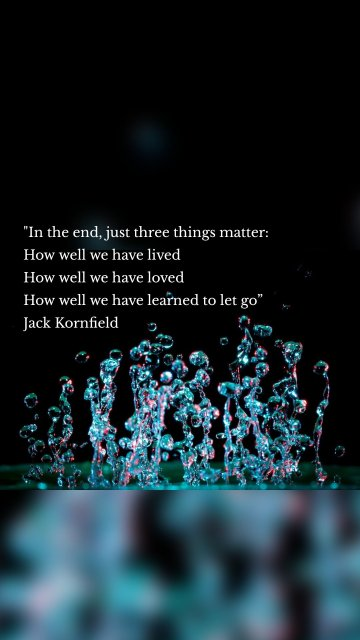 """""""In the end, just three things matter: How well we have lived How well we have loved How well we have learned to let go"""" Jack Kornfield"""